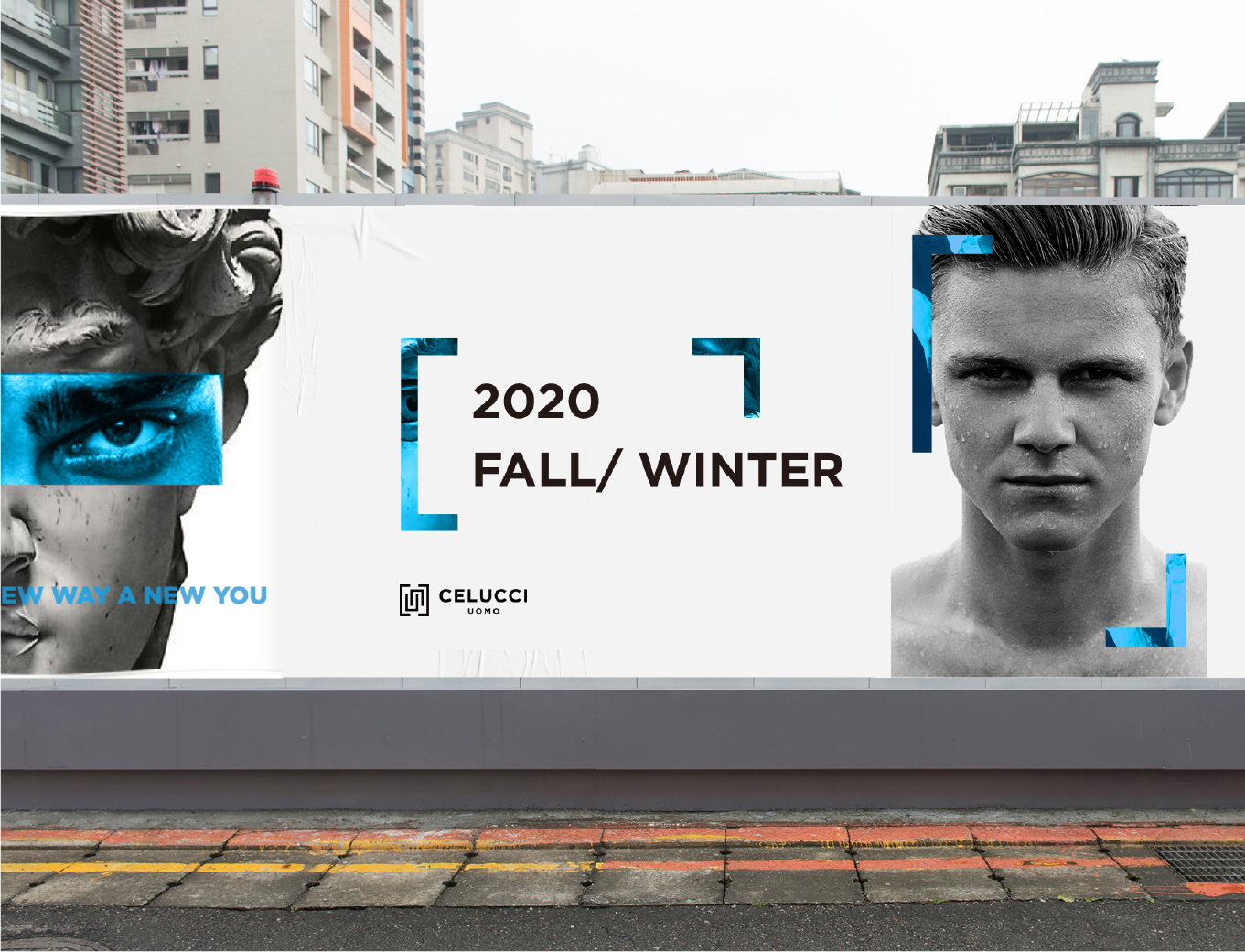 Celucci design and jewellery brand activation and identity banner with male fashion models
