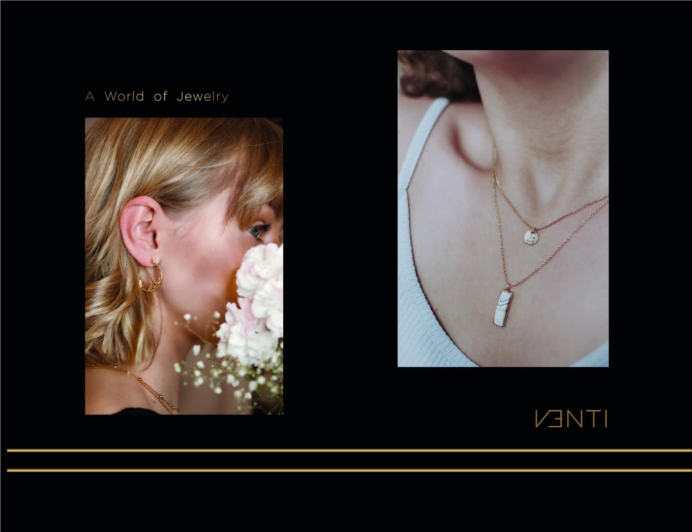 Model posing with Venti premium women jewellery luxury neckless