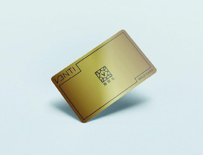 Venti premium women jewelry luxury golden VIP visiting card