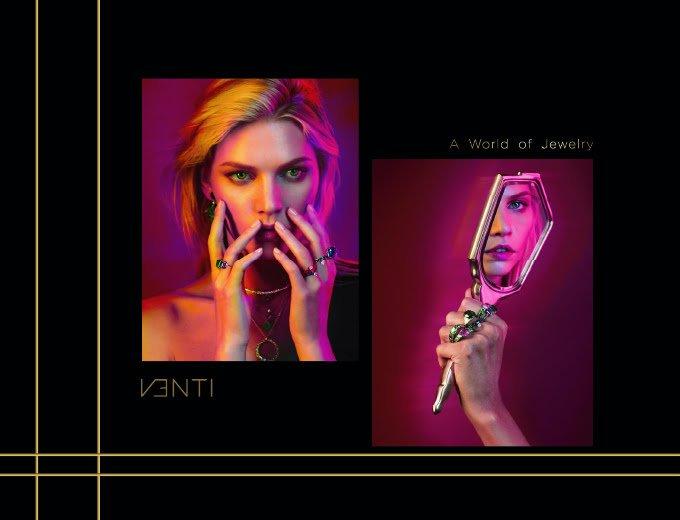 European model wearing venti jewelry