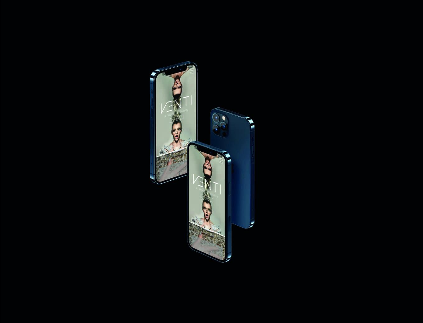 Venti premium women jewellery luxury brand mobile app activation mockup on iphone 12