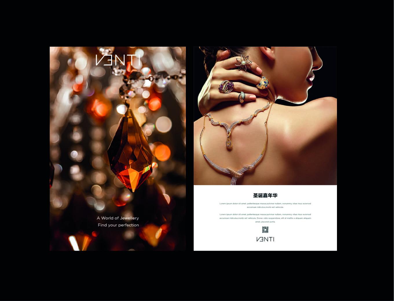 Venti premium women jewellery luxury brand activation model posing with jewel neckless