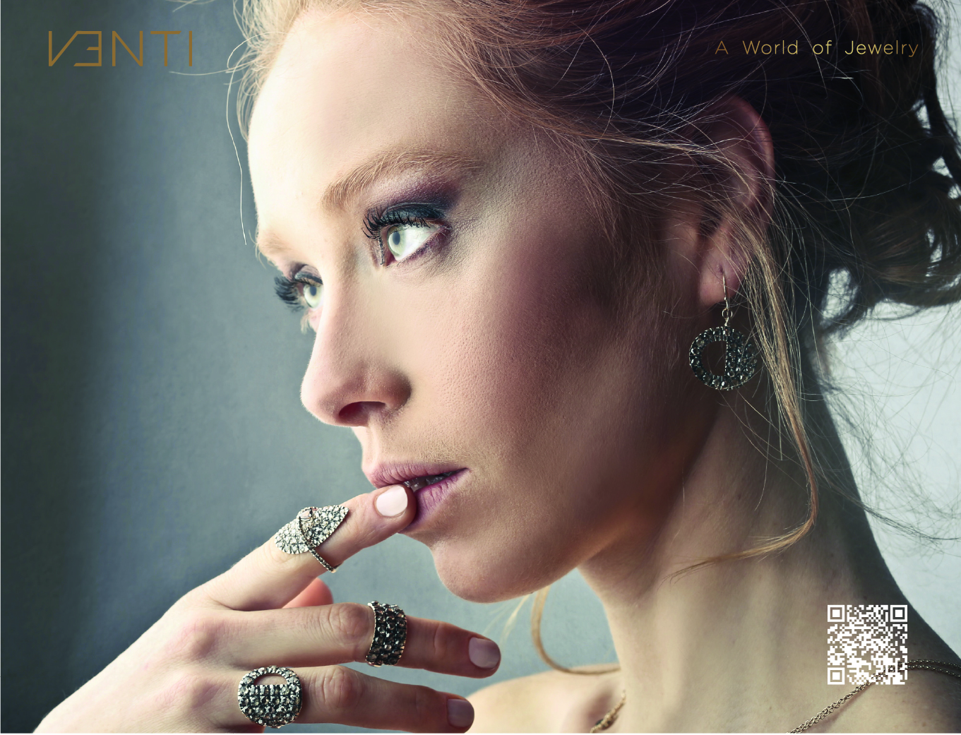 Venti premium women model posing in high-end jewellery for the brand essence
