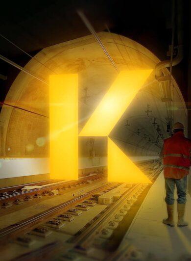 Orange Branding Krisbow Logo in Tunnel Illuminated