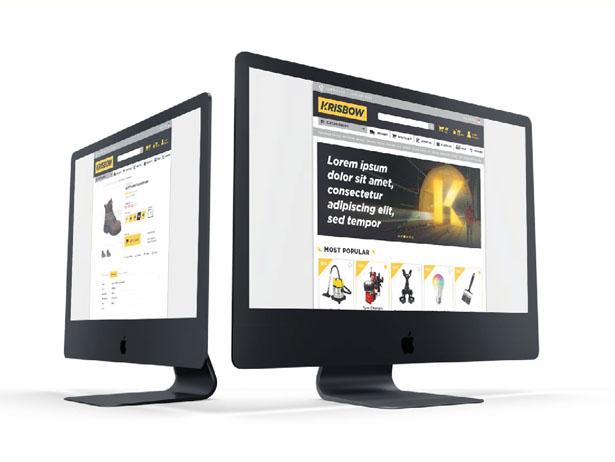 Orange branding Krisbow website on various devices