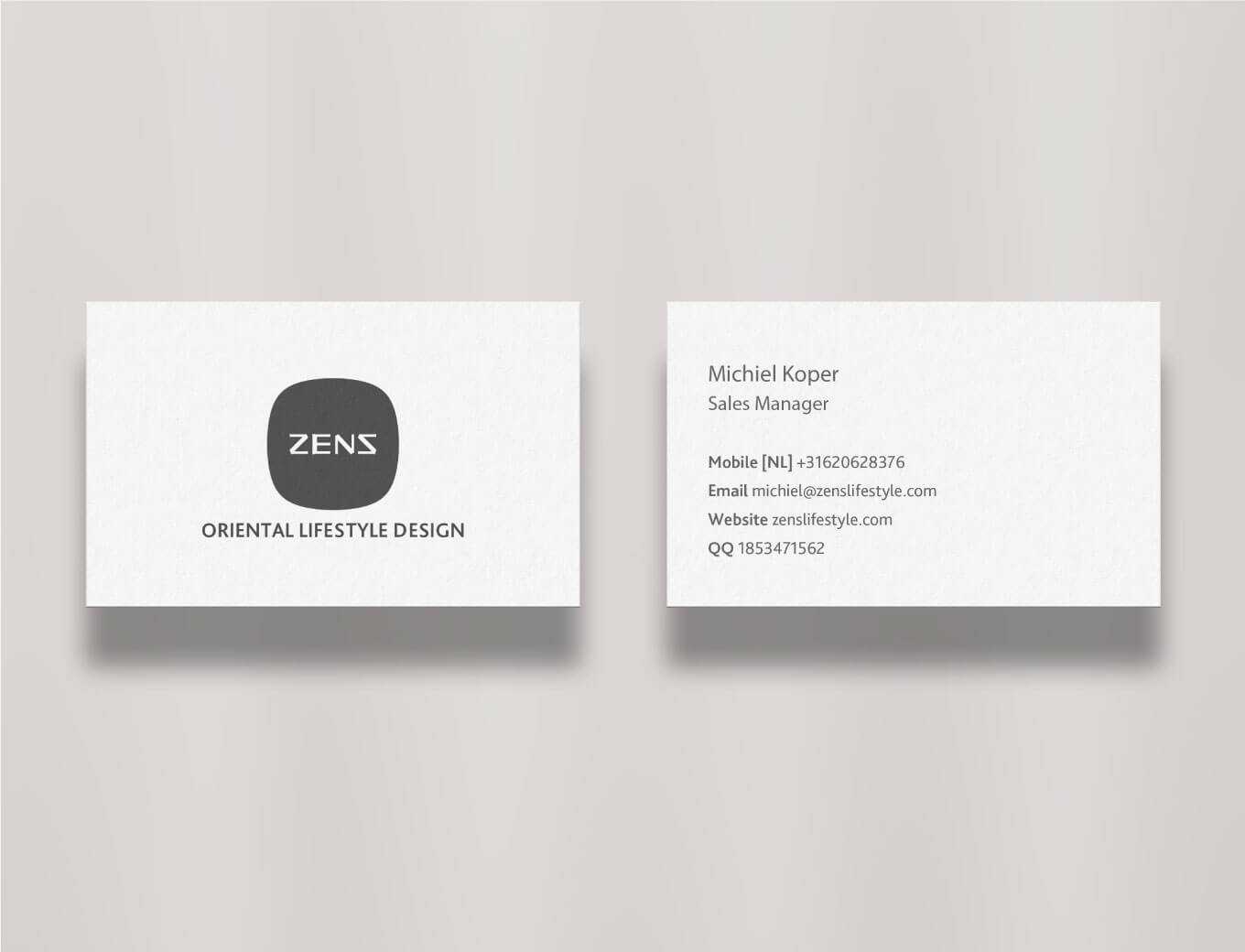 Chinese tableware ZENS visiting cards front and back