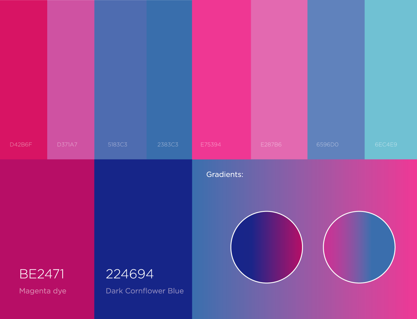 chinese job app color pallets between pink and blue colors