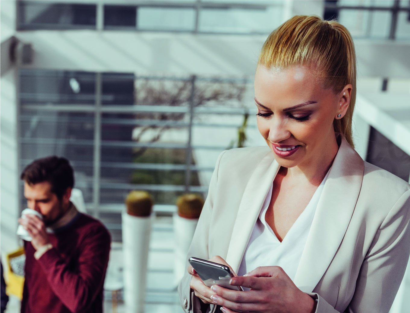 business women using job app