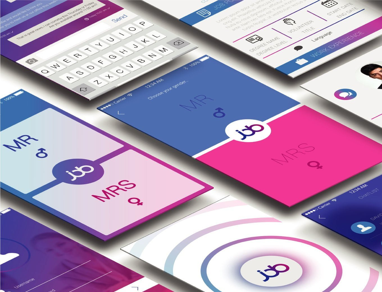 Job android app screen designs mockups