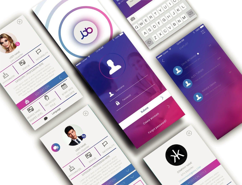 UI_UX Screen mockups for Chinese Job app