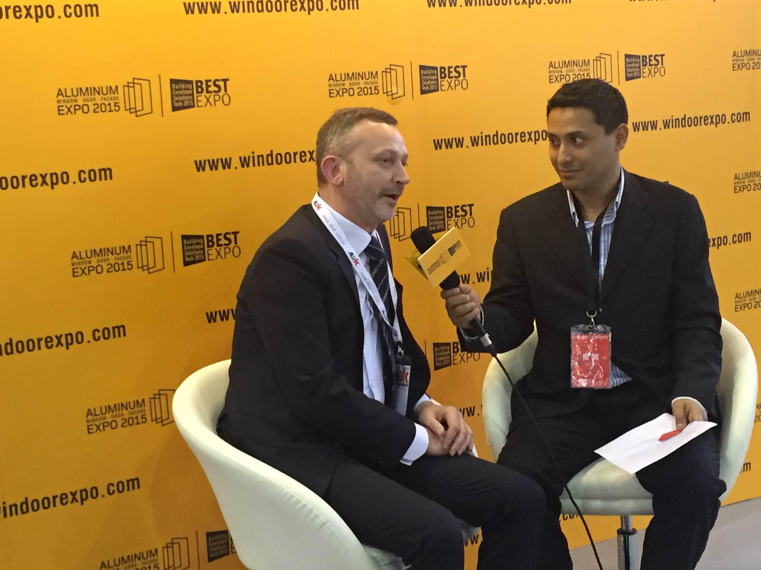 Mr. Jorg van Hoven interviewing Italian designer at best expo design event in Guangzhou