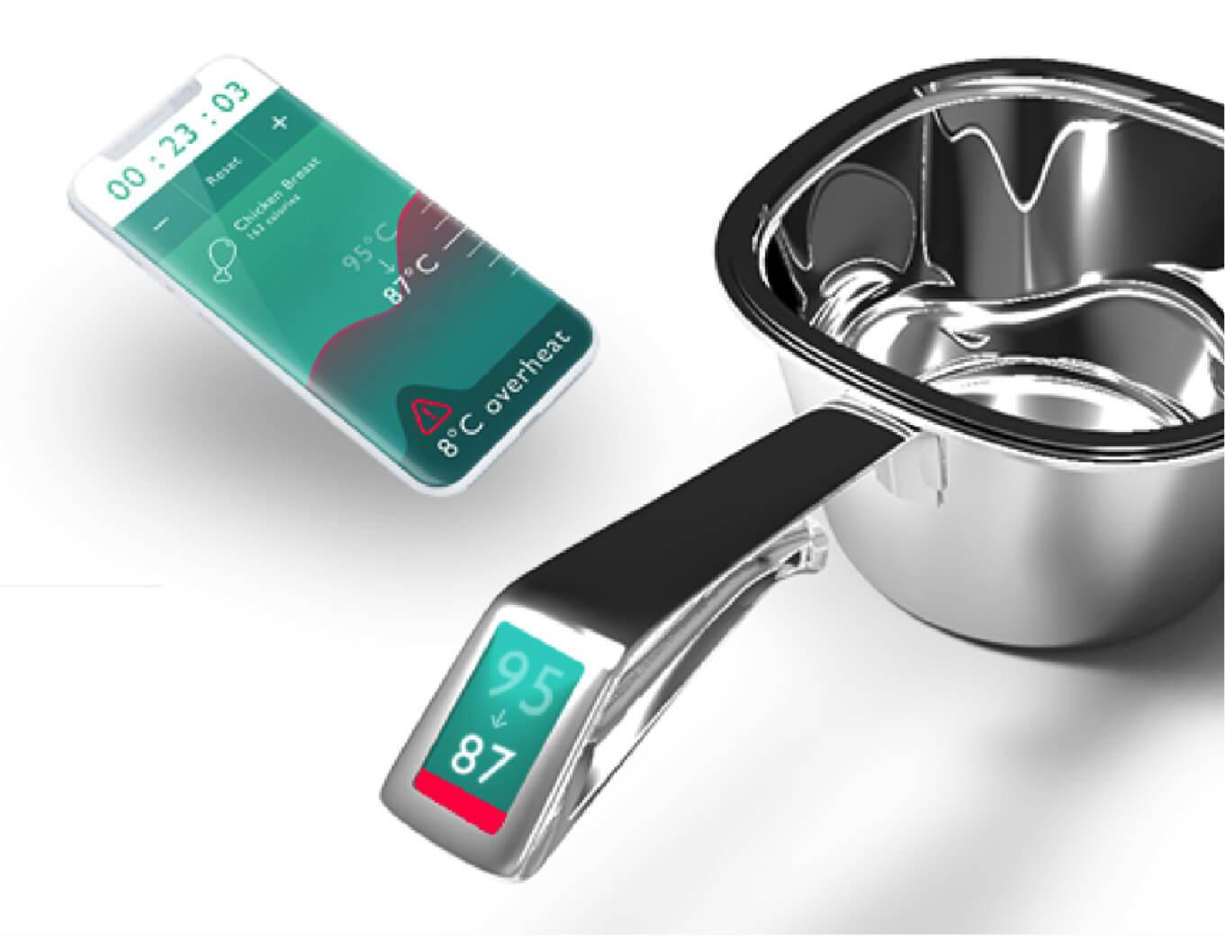 Hancook award winning smart pan connected to mobile
