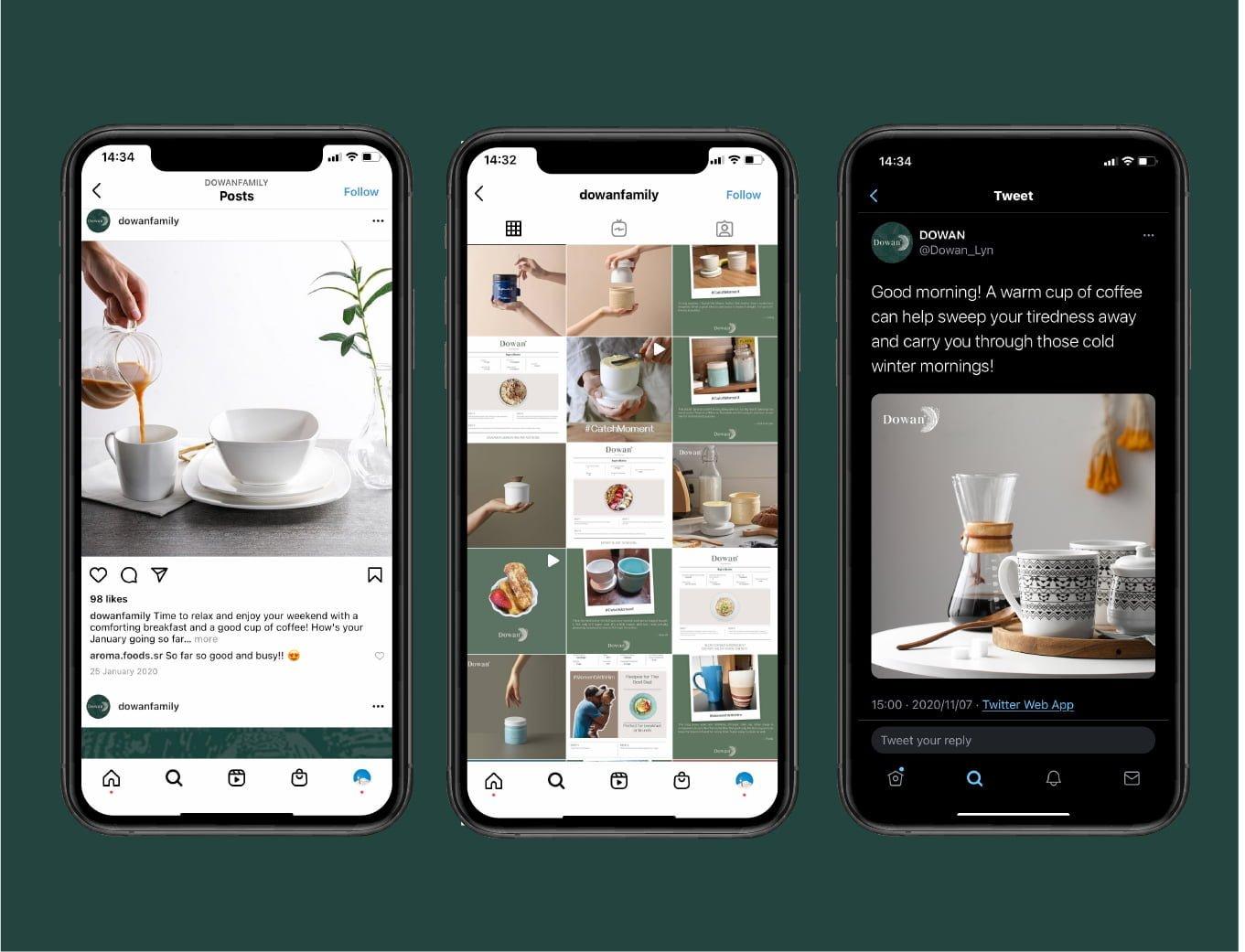 Dowan ecommerce retail digital marketing on Instagram and tweeter