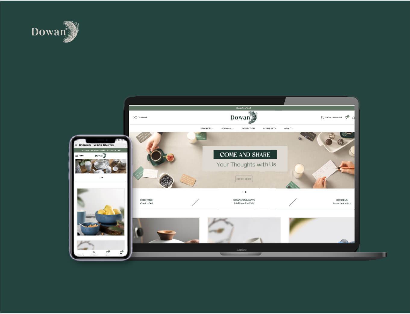 dowan tableware ceramics website advisement designed by orange branding