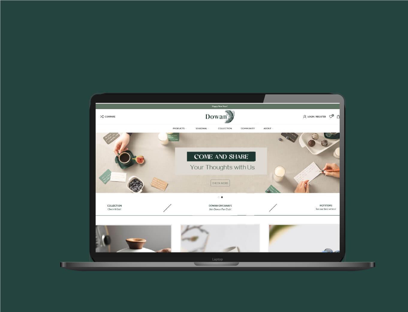 Dowan tableware lifestyle ceramics website branded and designed by Orange branding