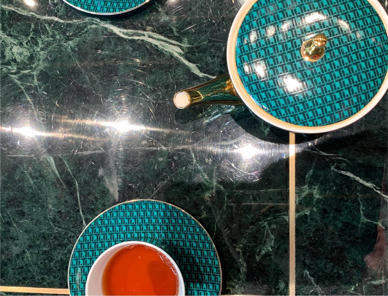 Orange branding Teatones sea green cutlery set with chinese tea