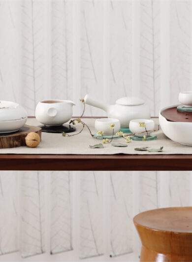 table full with different Zens tableware ceramics