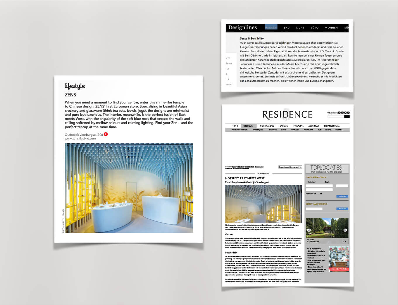 zens tableware brand activation paper clippings