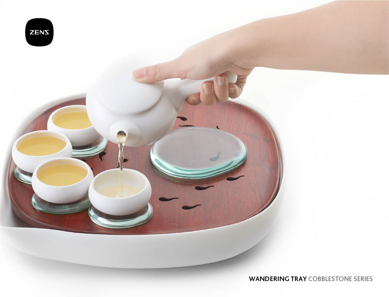 zens tableware branded tea set designed by orange branding