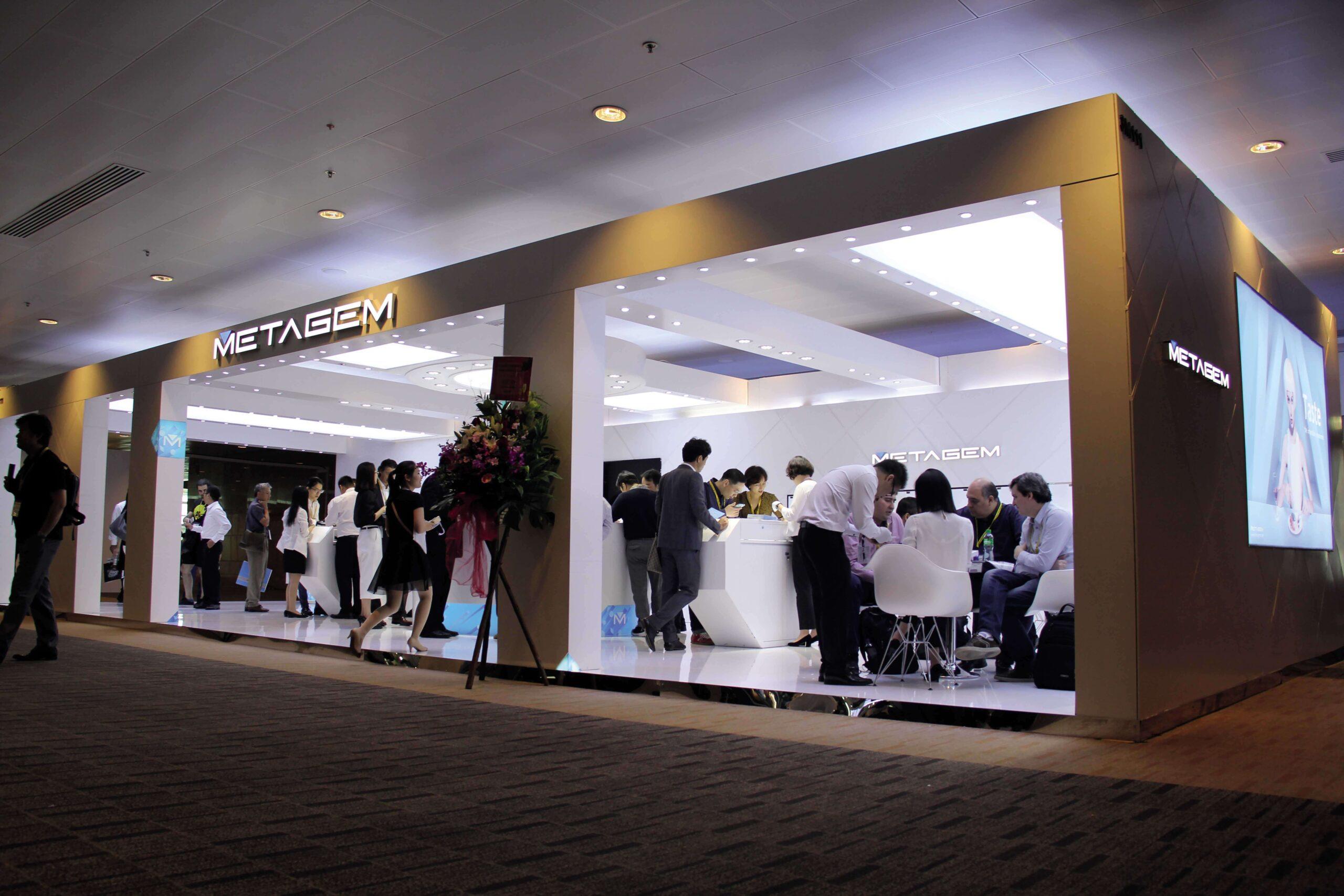 metagem white retail booth opening
