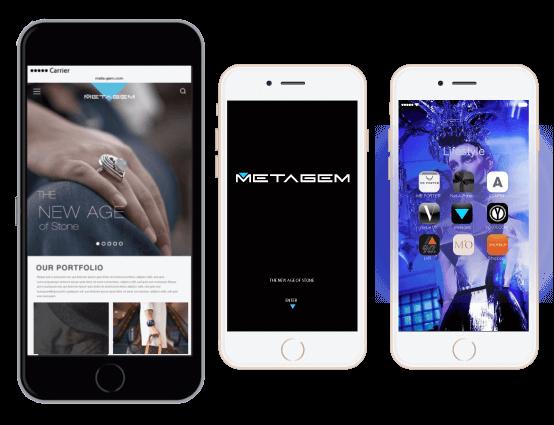 metagem brand identity app mockup