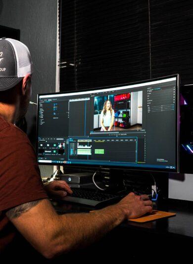 video editor banner image on orange branding vacancy page