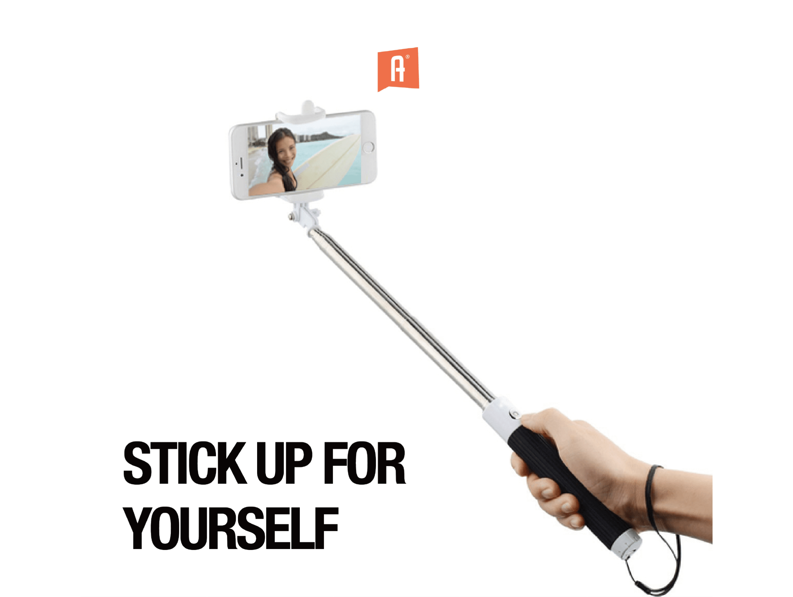 atart branded selfie stick with marketing logo