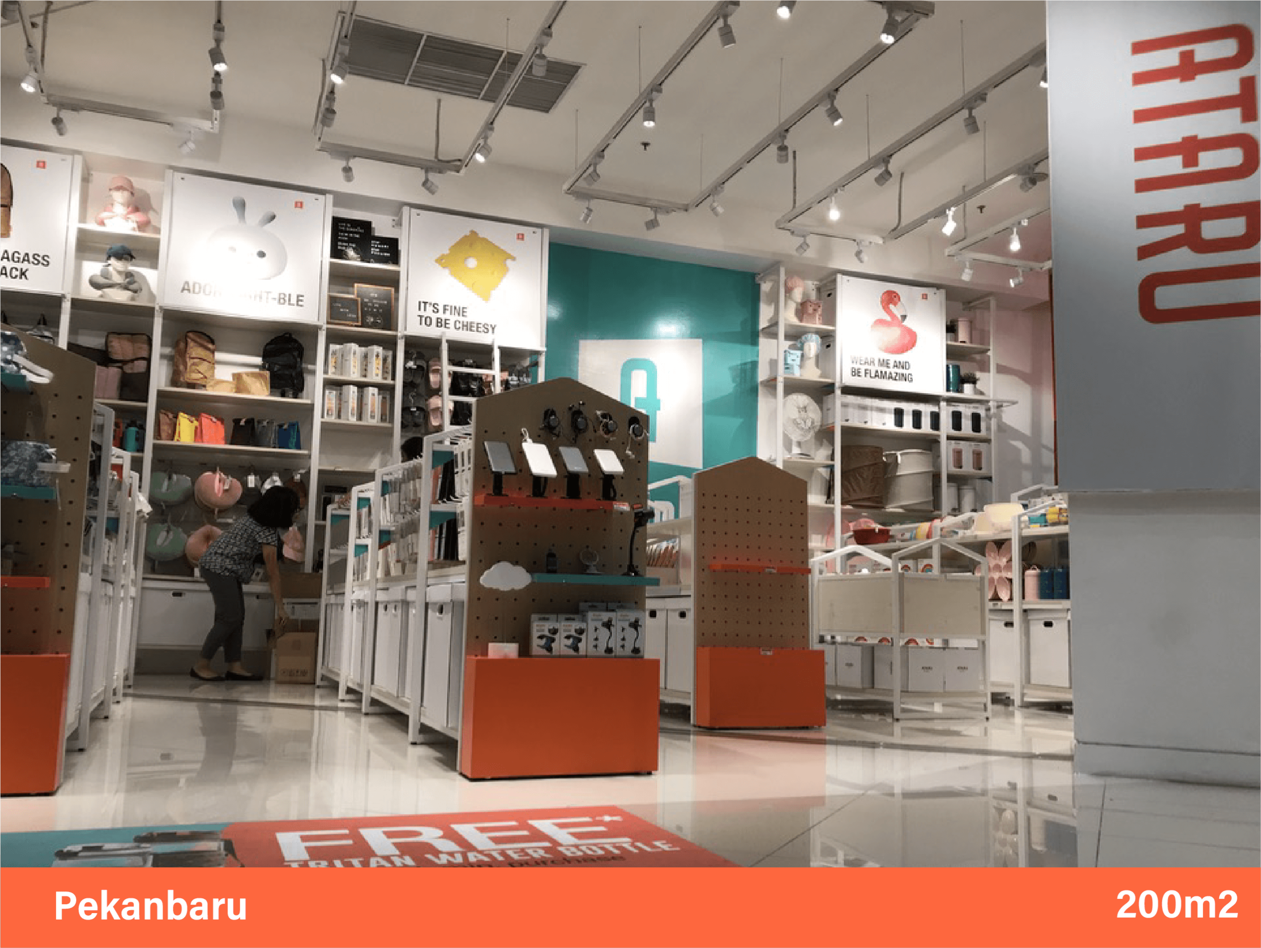 Ataru entrance aisle view of products and brands